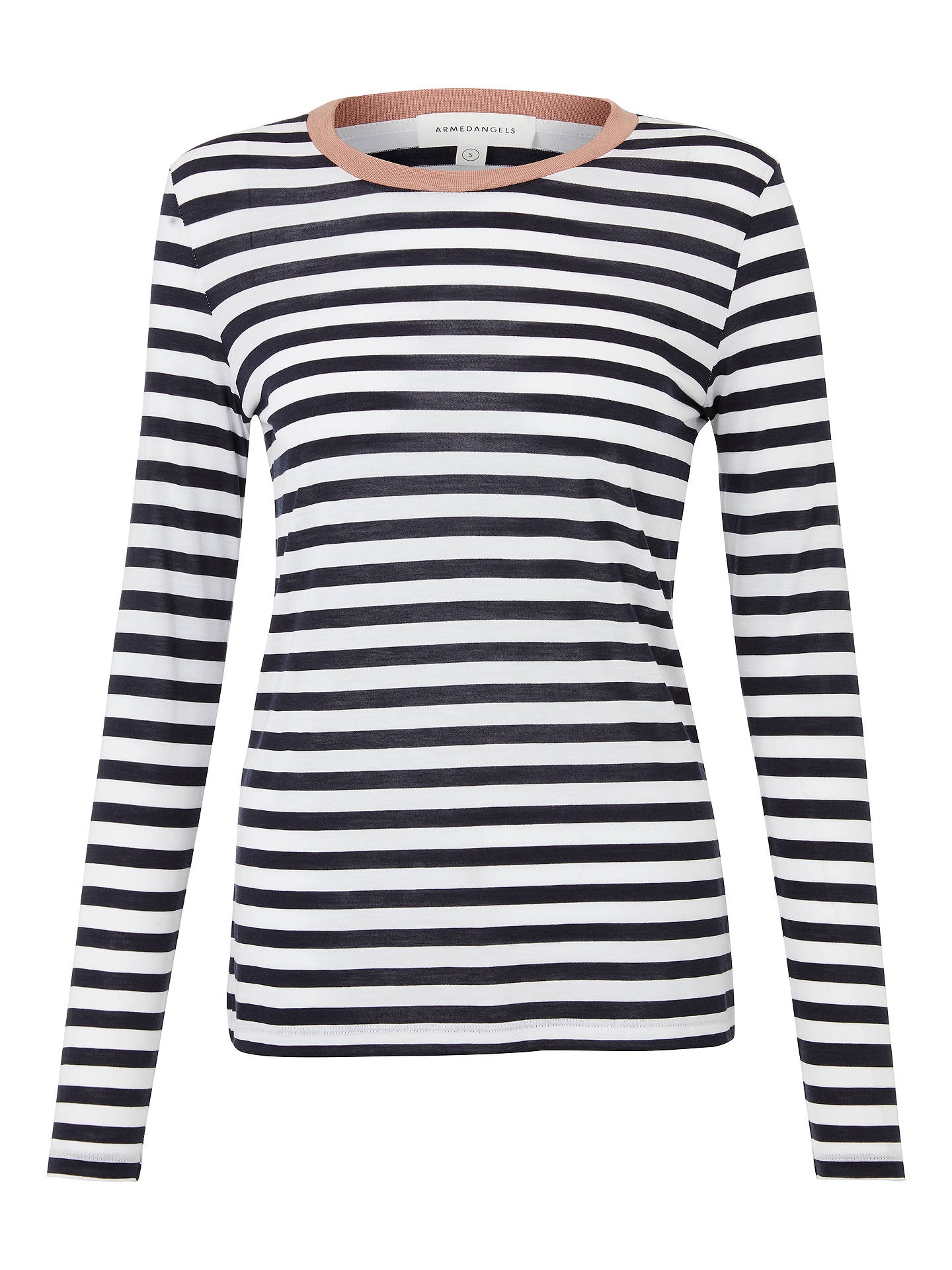 BuyARMEDANGELS Lara Bold Stripes Top, Navy/White, XS Online at johnlewis.com