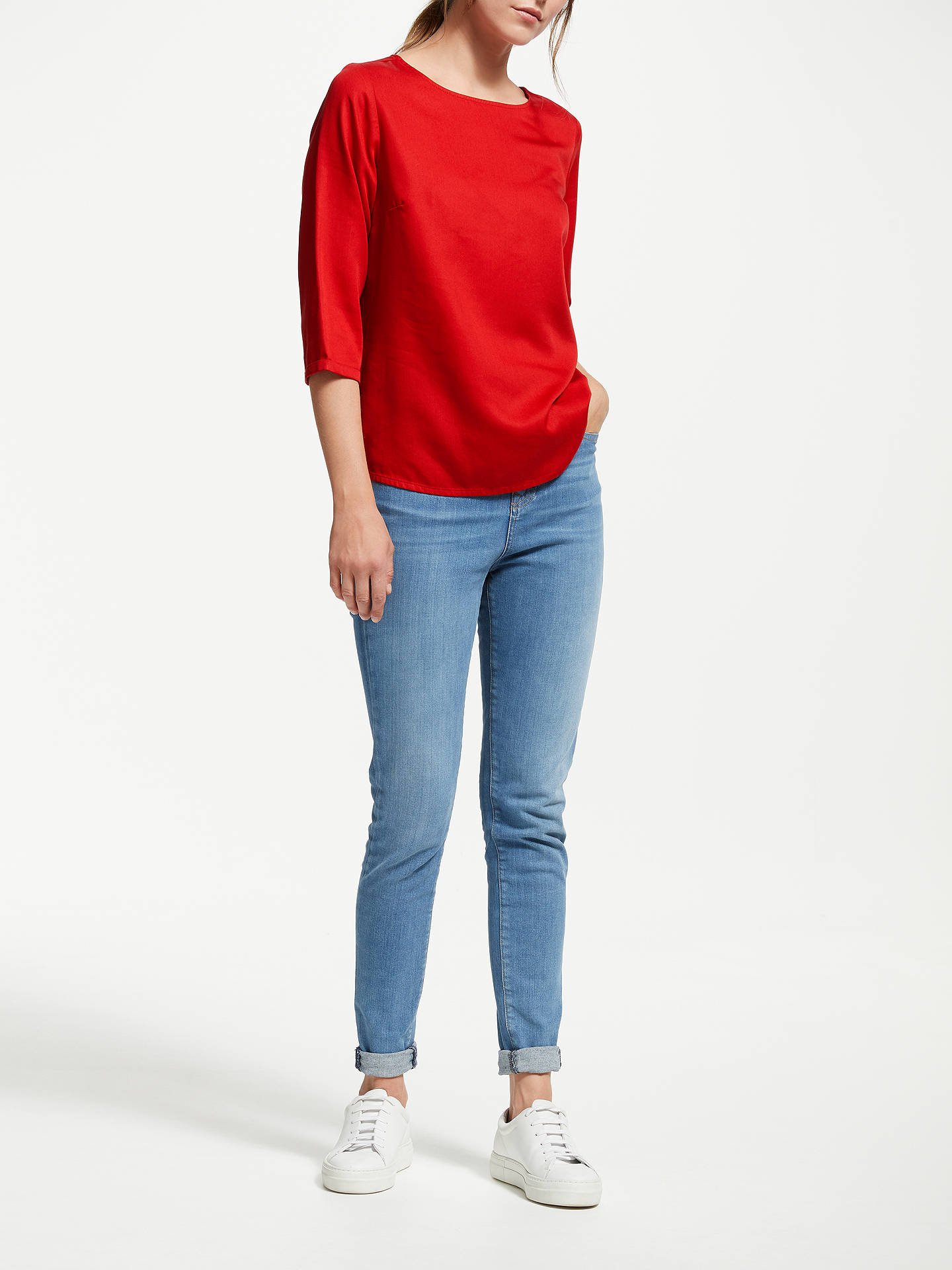 Buy ARMEDANGELS Hedda Bow Blouse, Scarlet Red, XS Online at johnlewis.com