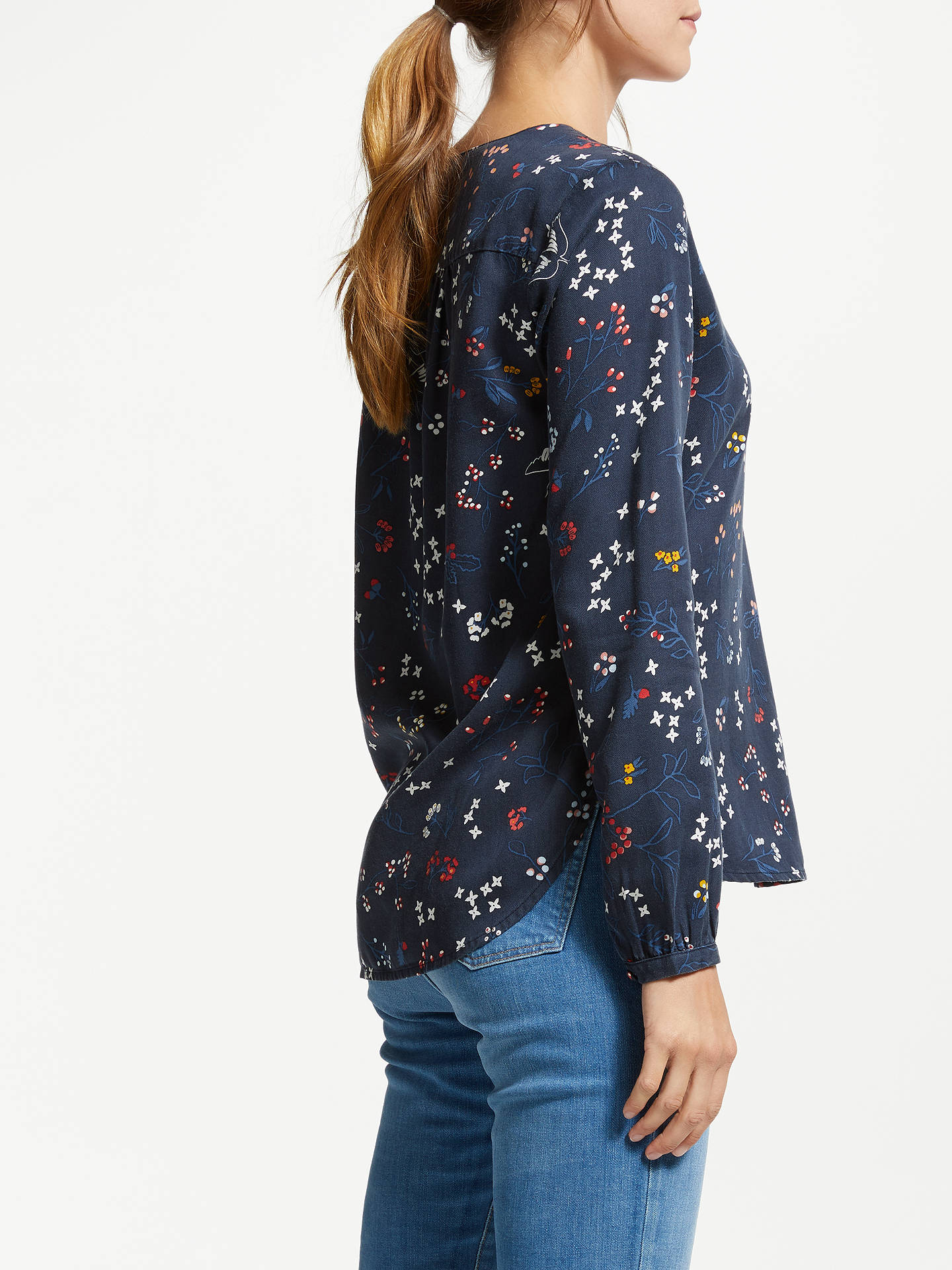Buy ARMEDANGELS Felicitas Wood And Willow Blouse, Navy, XS Online at johnlewis.com