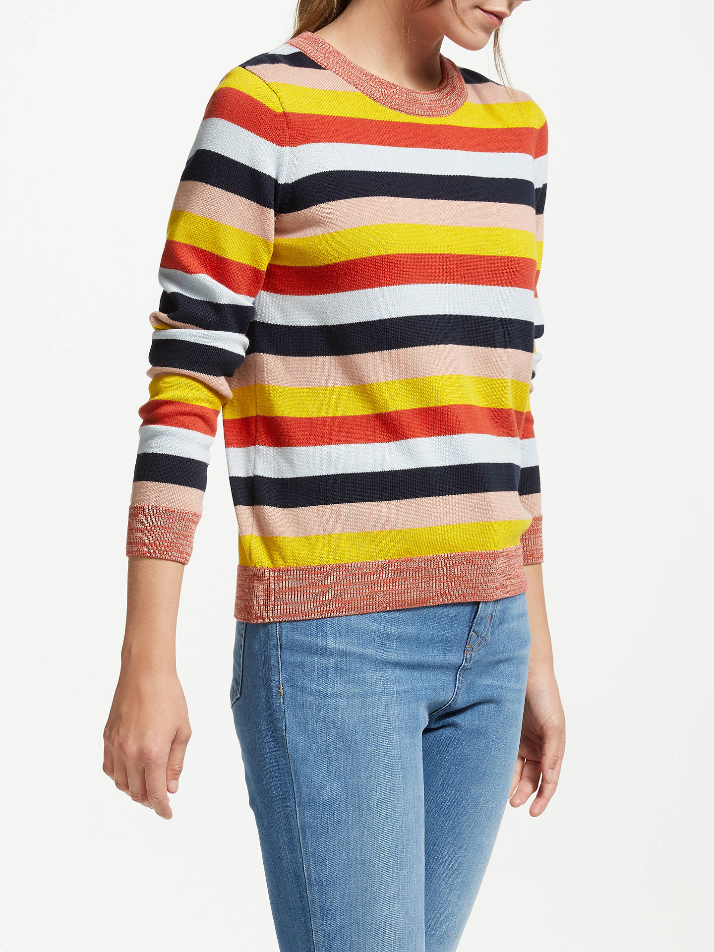 BuyARMEDANGELS Oxana Stripe Jumper, Scarlet Red/Multi, XS Online at johnlewis.com