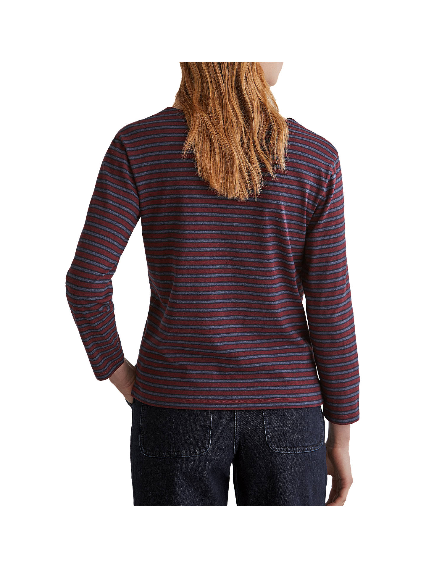 BuyToast Breton Stripe Cotton Top, Carnelian Red/Navy, XS Online at johnlewis.com