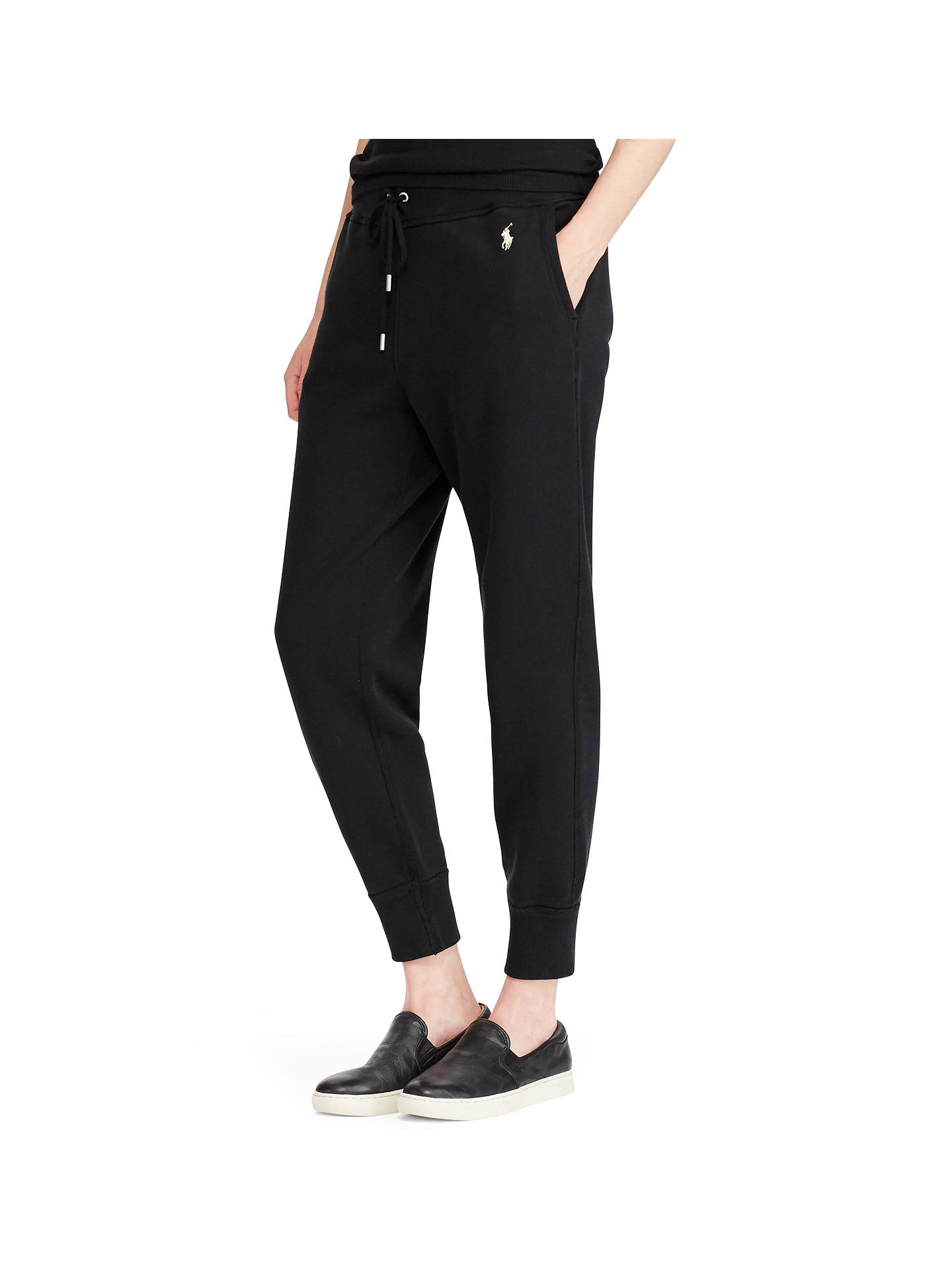 BuyPolo Ralph Lauren Fleece Ankle Jogger Bottoms, Polo Black, XS Online at johnlewis.com
