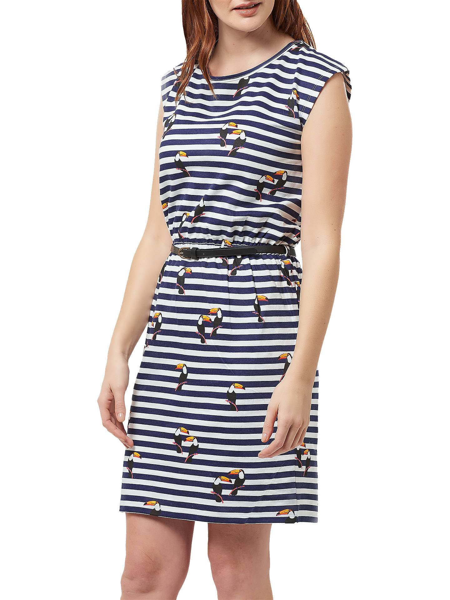 BuySugarhill Brighton Hetty Stripe and Toucan Print Cotton Dress, Navy/White, 14 Online at johnlewis.com