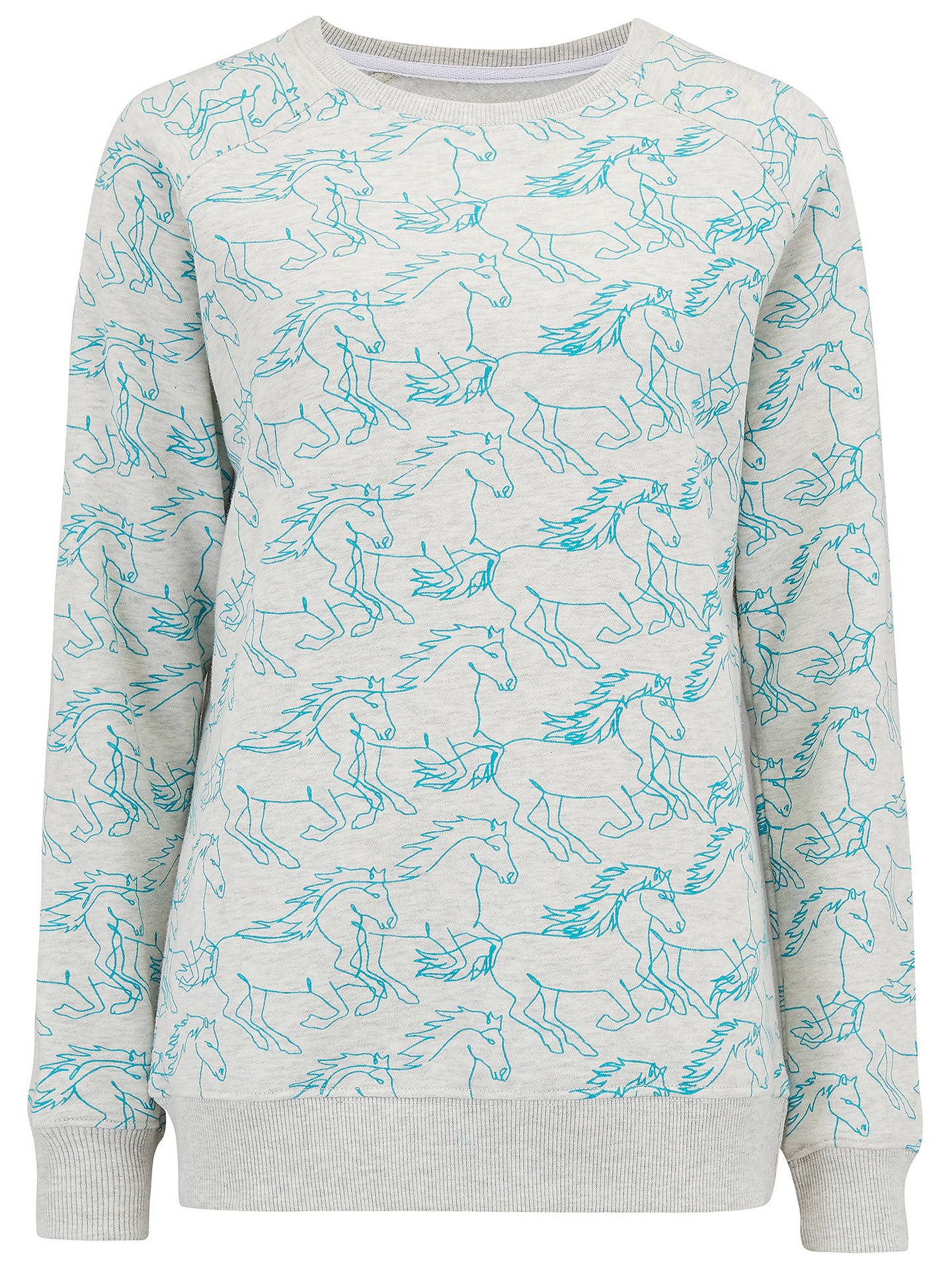 BuySugarhill Brighton Laurie Running With Horses Sweatshirt, Oatmeal/Teal, 10 Online at johnlewis.com