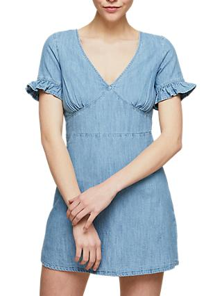 Miss Selfridge Petite V-Neck Tie Back Denim Dress, Blue