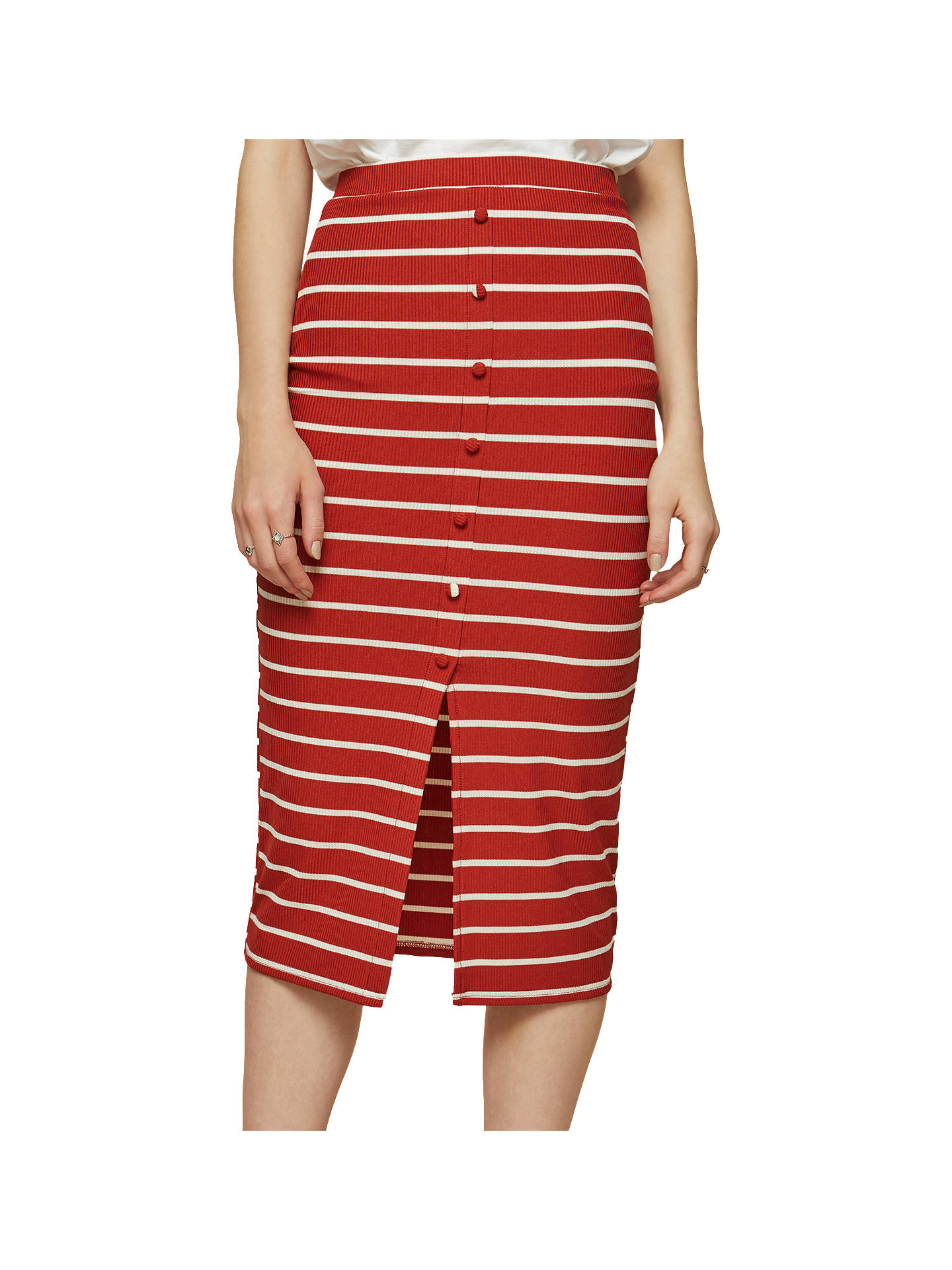03a612ec0c64 Buy Miss Selfridge Striped Button Front Midi Skirt, Brown, 6 Online at  johnlewis.