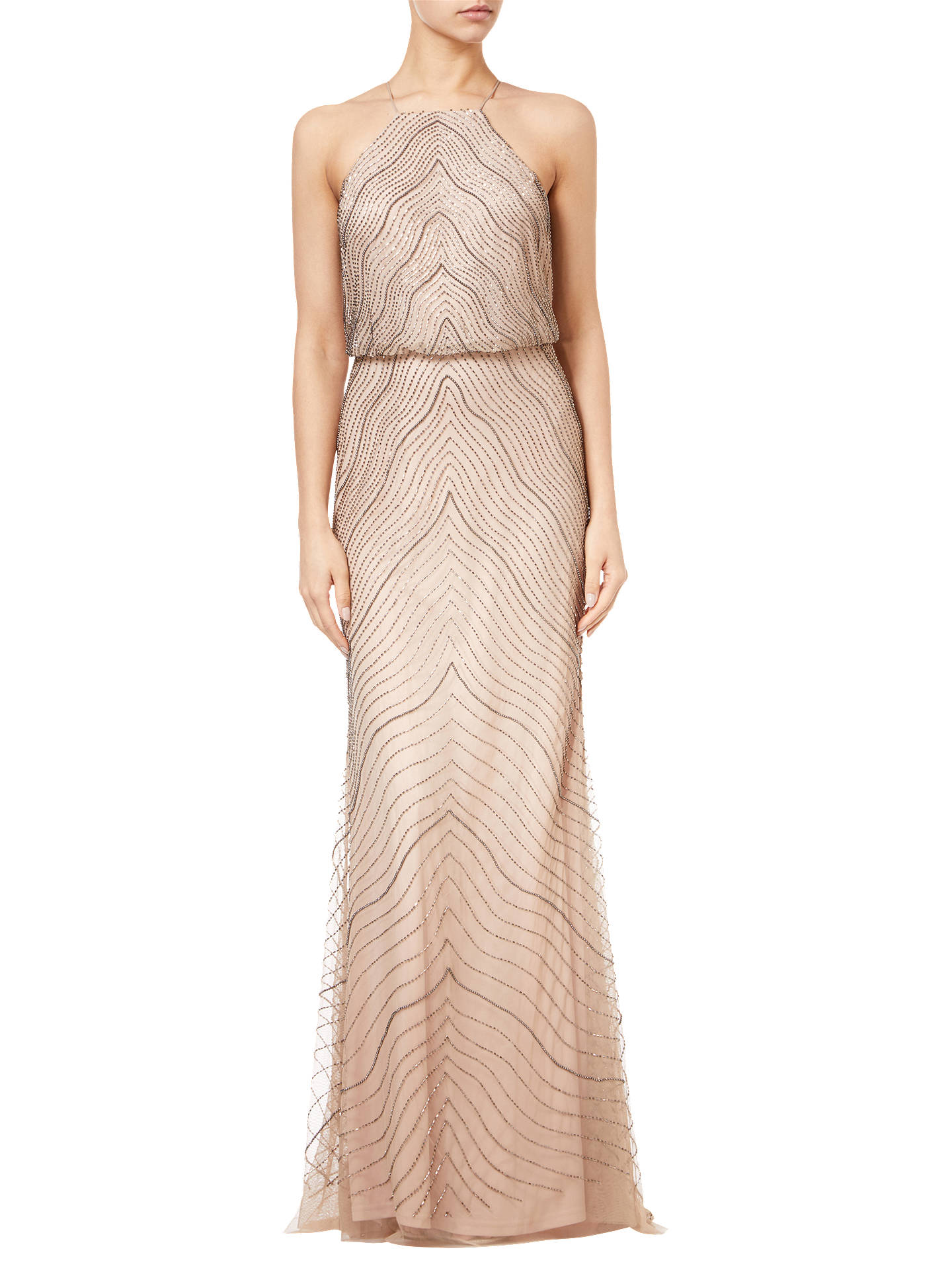 Buy Adrianna Papell Blouson Beaded Halterneck Gown, Blush Pink, 14 Online at johnlewis.com