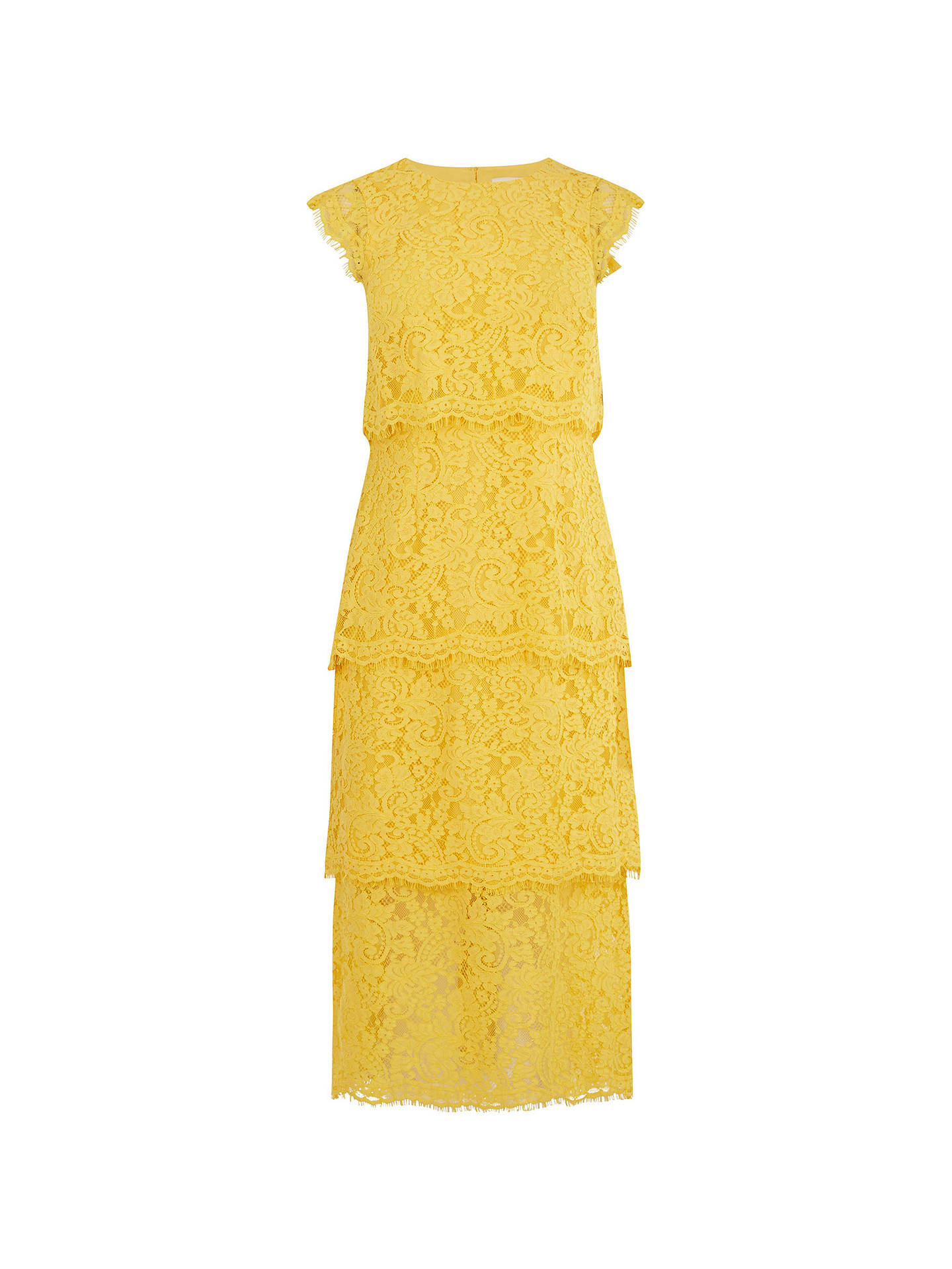 BuyWarehouse Tiered Lace Dress, Yellow, 14 Online at johnlewis.com