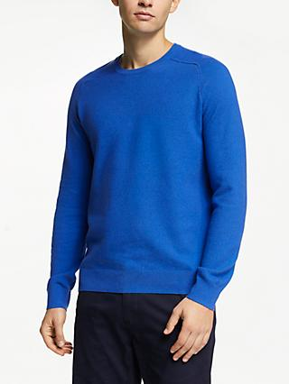 John Lewis & Partners Cotton Cashmere Textured Raglan Crew Jumper
