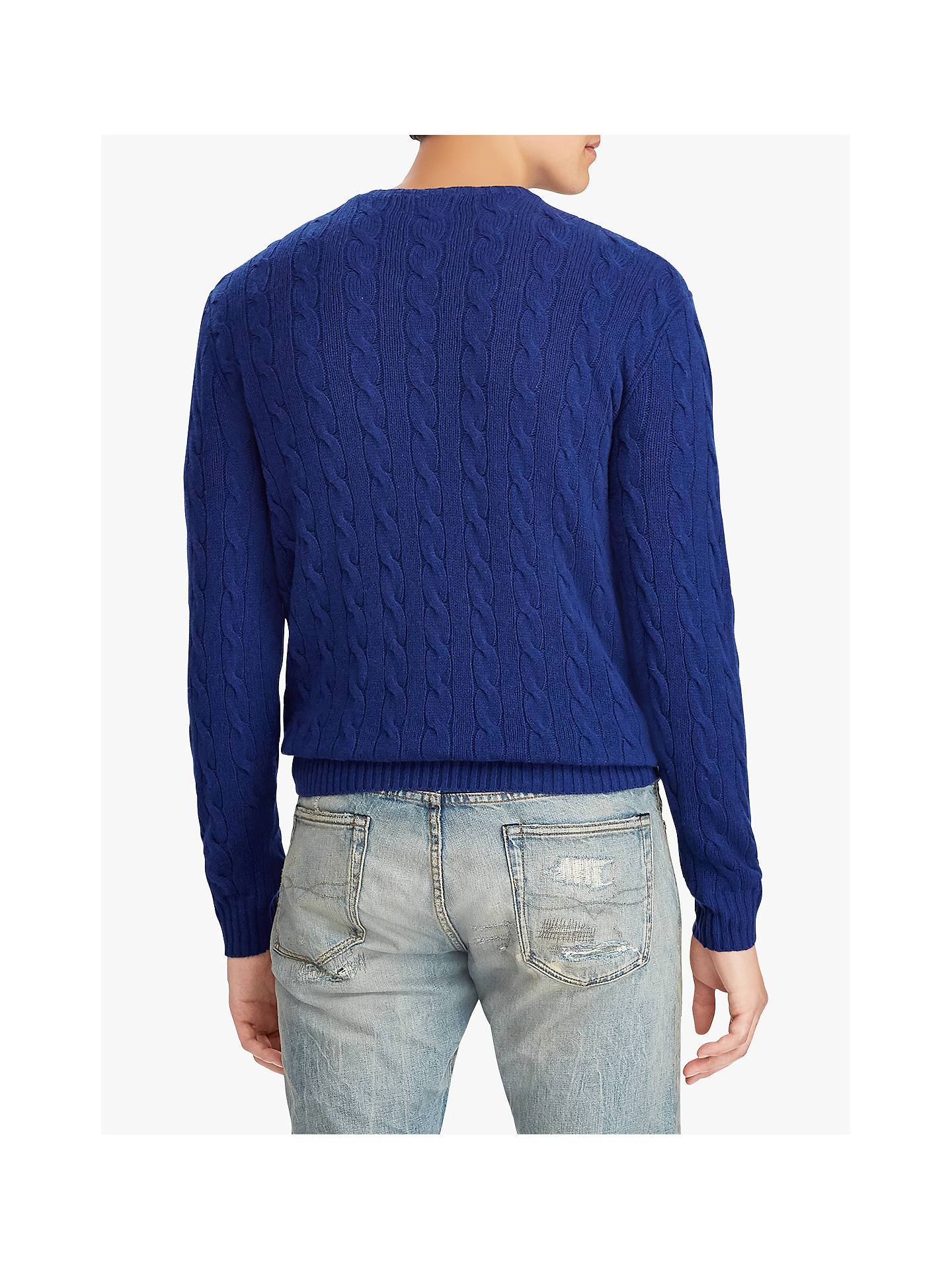 Buy Polo Ralph Lauren Cable Knit Jumper, Soho Blue, S Online at johnlewis.com
