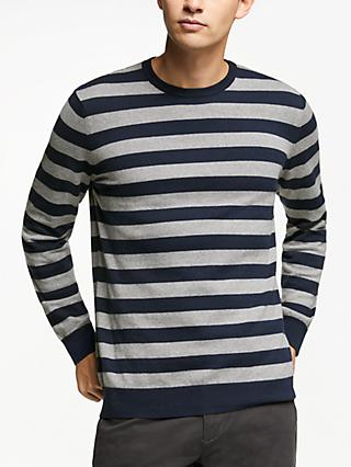 John Lewis & Partners Cotton Cashmere Wide Stripe Jumper, Blue