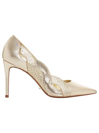 Dune Brylai Stiletto Heel Court Shoes, Gold Leather