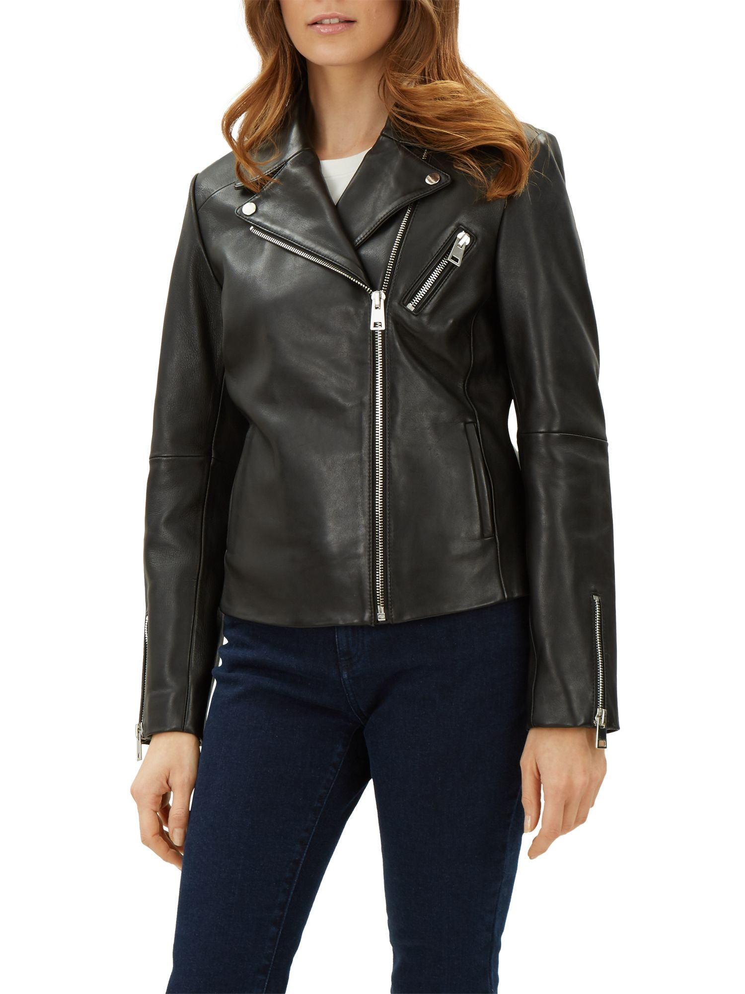 Jaeger Jaeger Leather Biker Jacket, Black