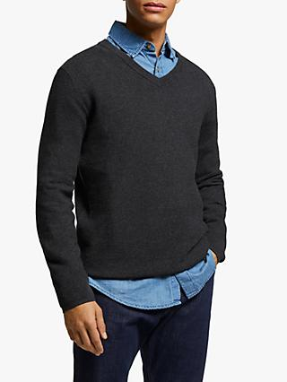 John Lewis & Partners Cotton Cashmere Textured V-Neck Jumper