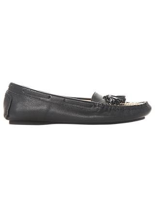 Dune Greatful Embellished Loafers, Black Leather, Black Leather