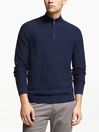 John Lewis & Partners Cotton Cashmere Textured Half Zip Neck Jumper