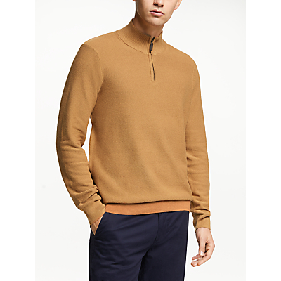 John Lewis & Partners Cotton Cashmere Textured Half Zip Neck Jumper, Brown