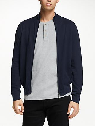 John Lewis & Partners Cotton Cashmere Textured Zip Through Top