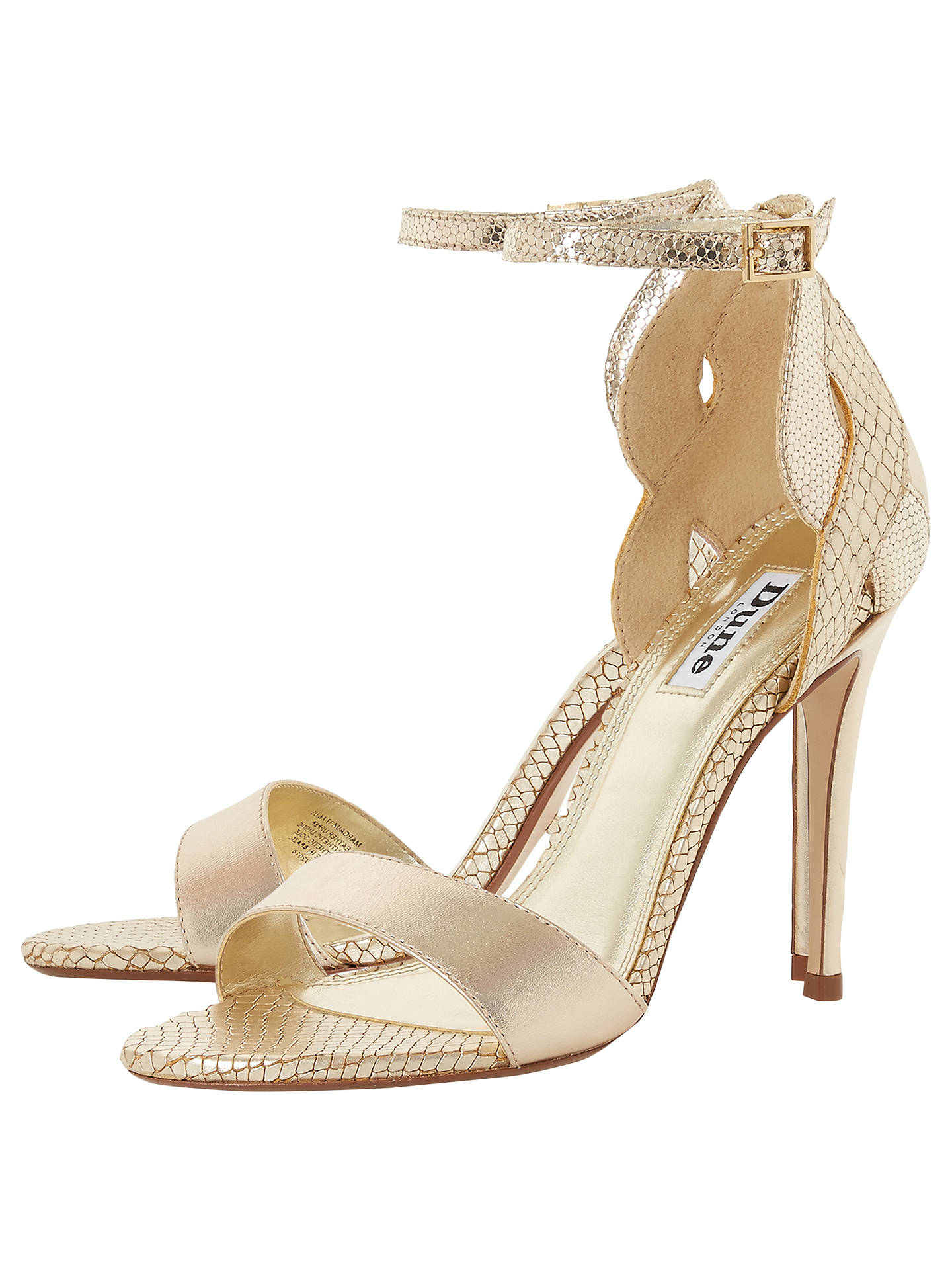 d8c88185e8 ... Buy Dune Margaux Two Tone Stiletto Heel Sandals, Gold Leather, 7 Online  at johnlewis ...