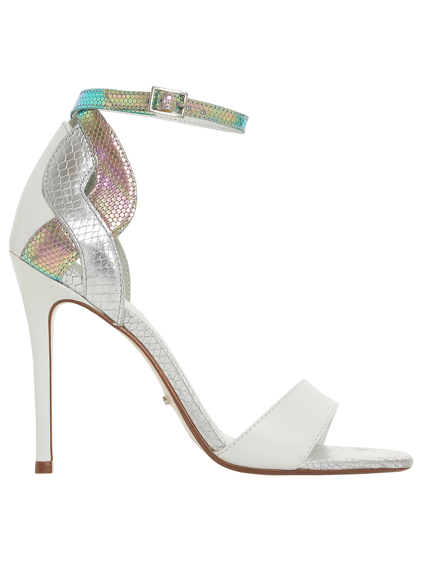 BuyDune Margaux Two Tone Stiletto Heel Sandals, White Leather, 3 Online at johnlewis.com