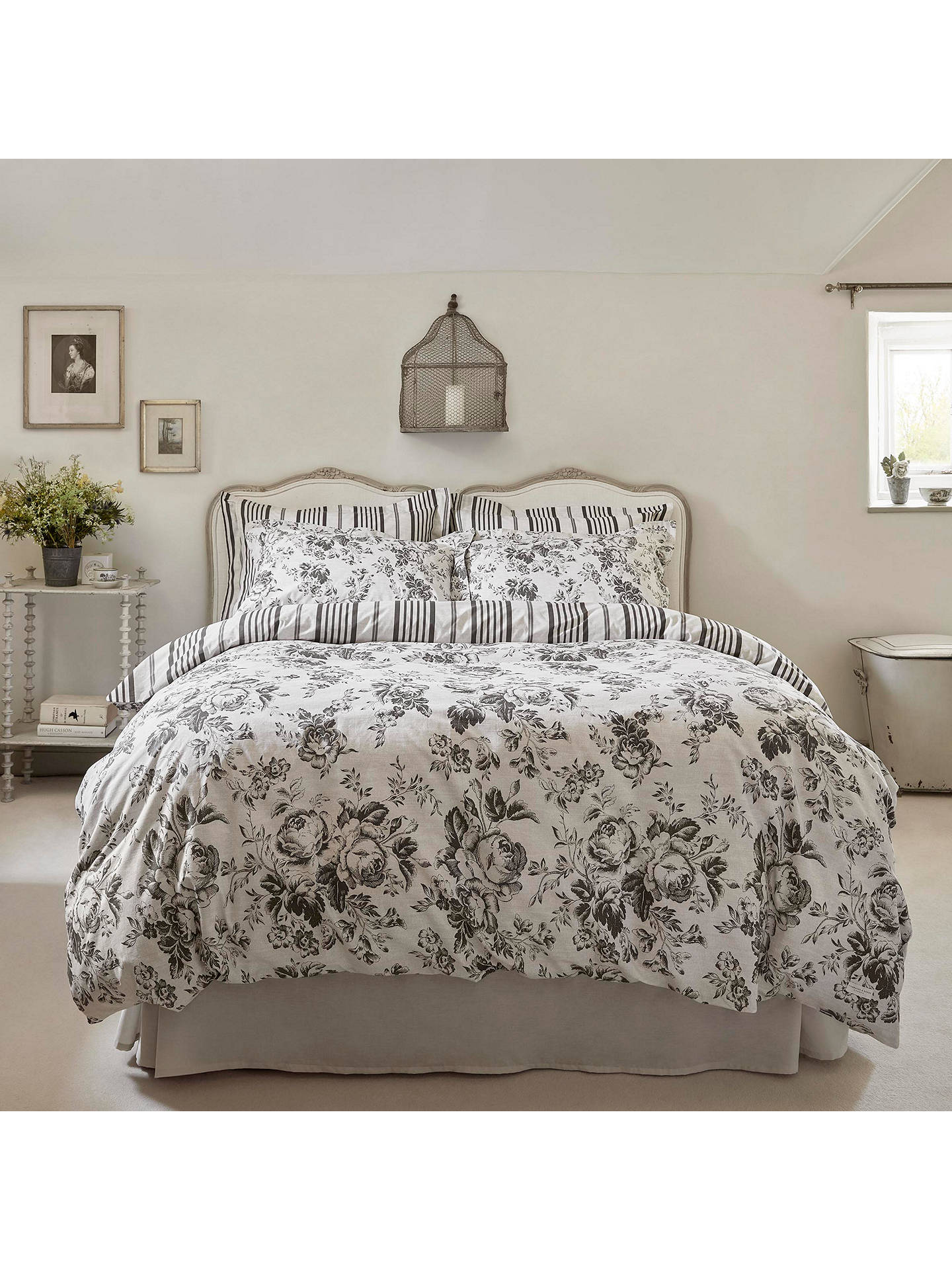 Buy Cabbages & Roses Paris Single Duvet Cover, Charcoal Online at johnlewis.com