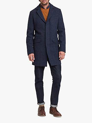 Joules Tweed Overcoat, Blue
