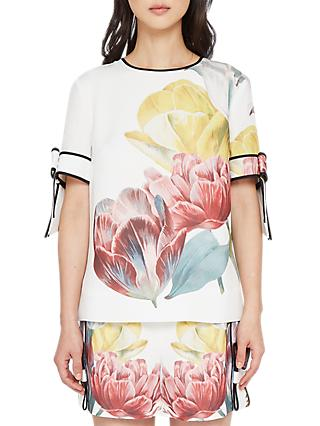 Ted Baker Pollie Bow Sleeve Floral Top, White