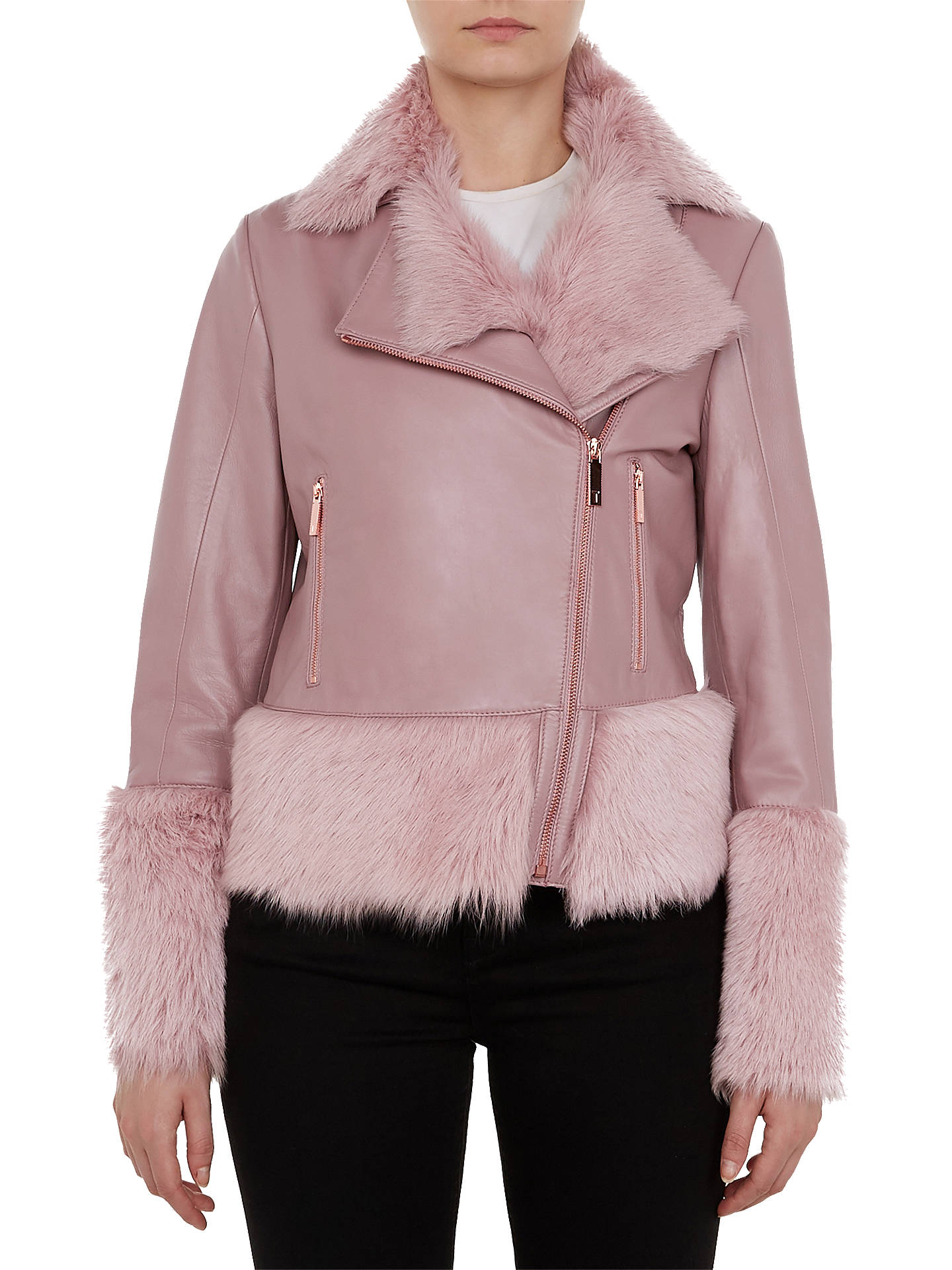 detailed images aesthetic appearance a few days away Ted Baker Serer Shirling Biker Jacket, Pink at John Lewis ...