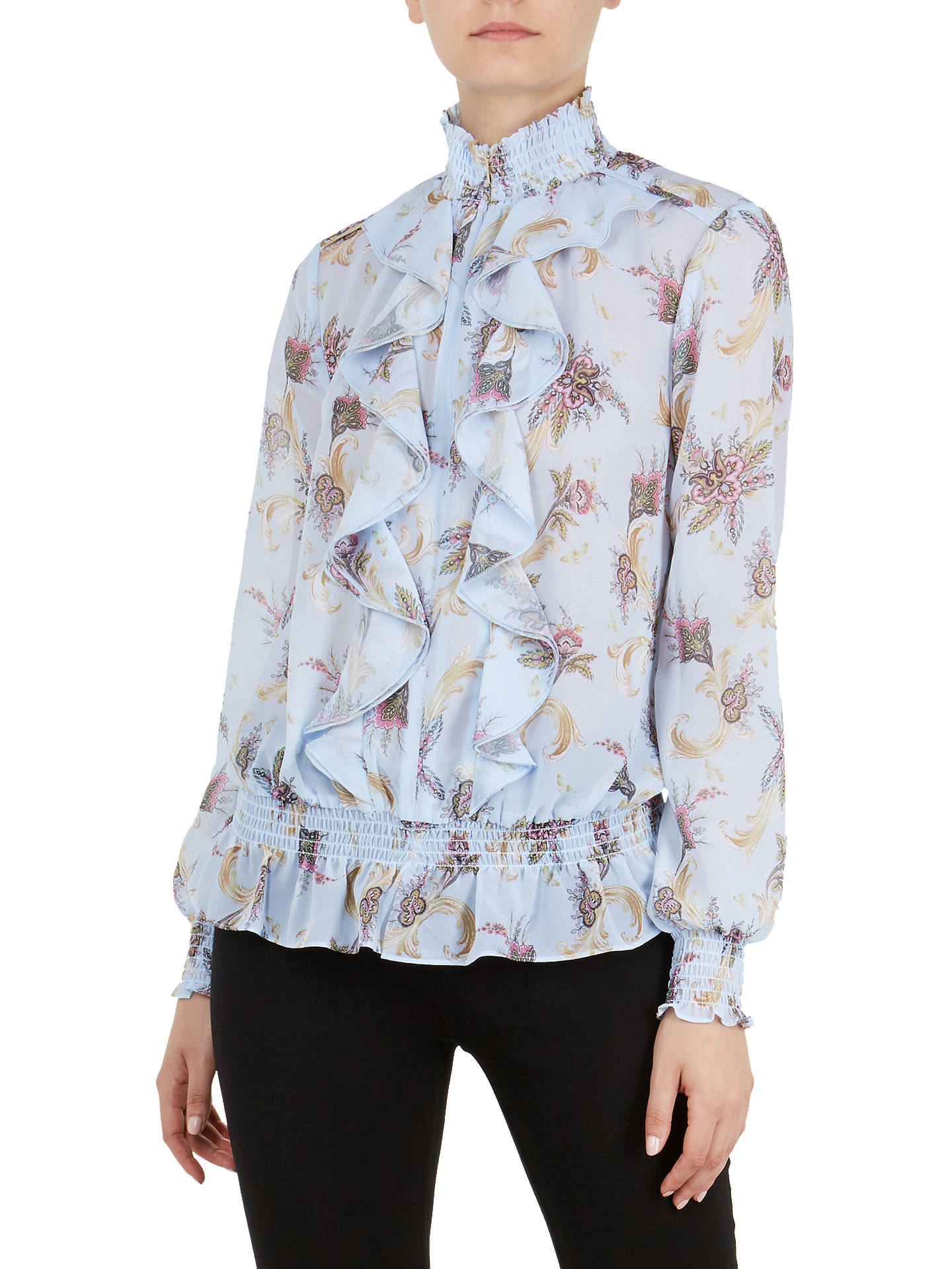Ted Baker Jorliee Blue Moon Ruffle Front Blouse Pale Blue At John