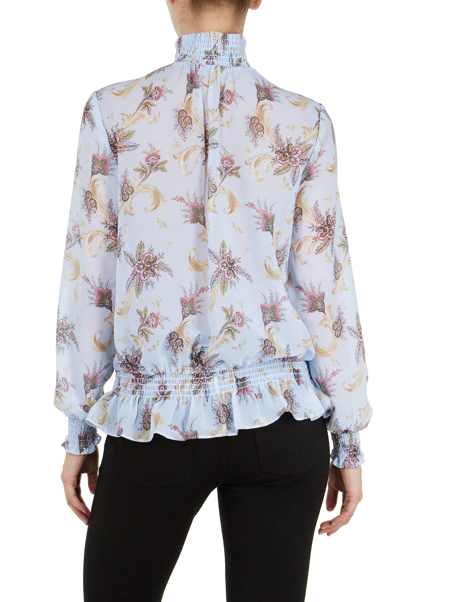 Buy Ted Baker Jorliee Blue Moon Ruffle Front Blouse, Pale Blue, 1 Online at johnlewis.com