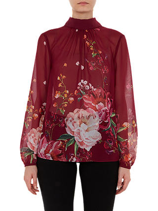 Buy Ted Baker Naalah High Neck Blouse, Red, 12 Online at johnlewis.com