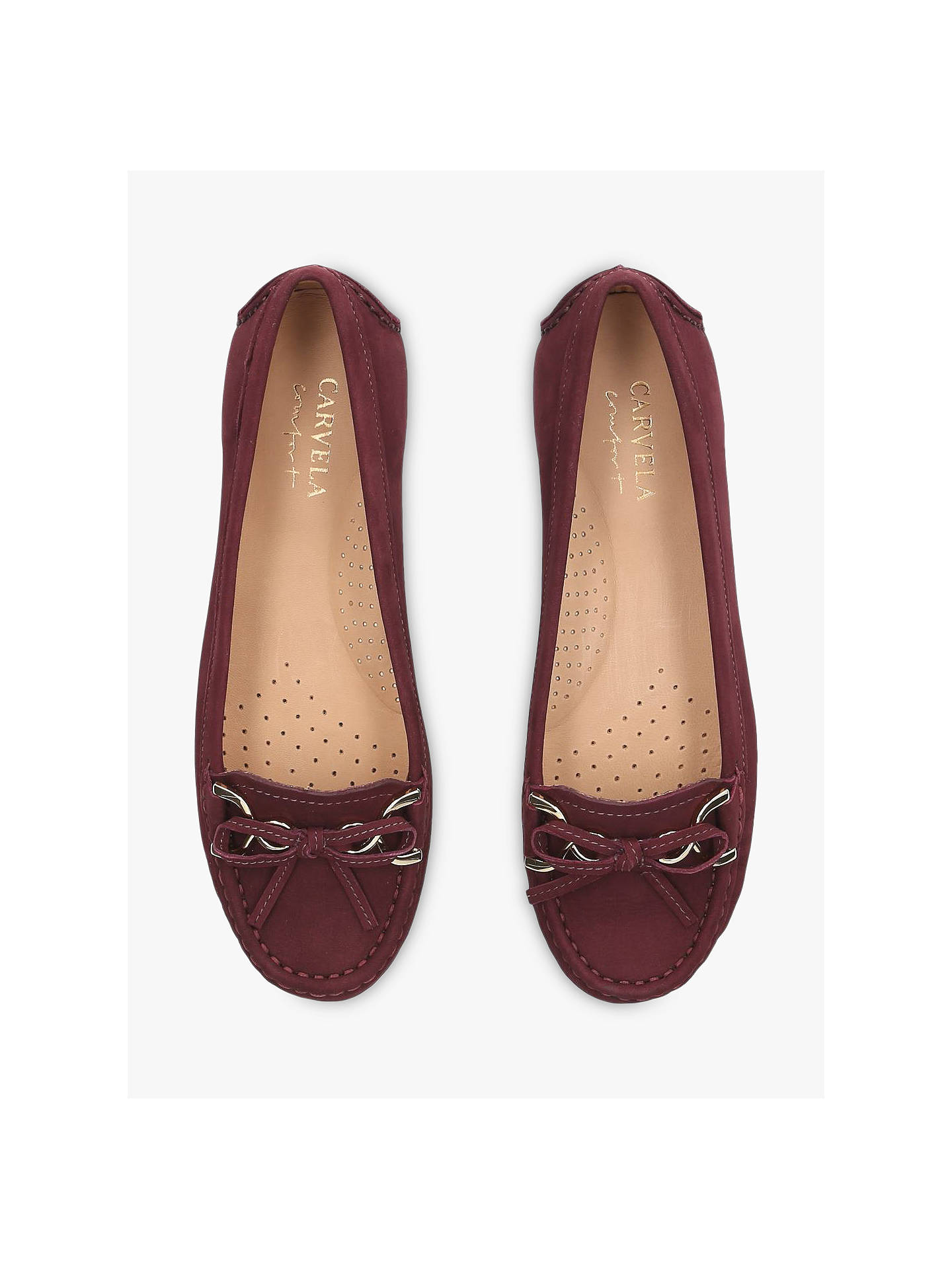 Buy Carvela Comfort Cally Bow Loafers, Red Nubuck, 5 Online at johnlewis.com