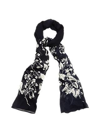 Phase Eight Jamia Floral Scarf, Navy/Ivory