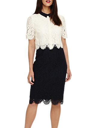 Phase Eight Mandy Contrast Lace Dress, Navy/Cream