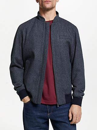 John Lewis & Partners Check Bomber Jacket, Grey