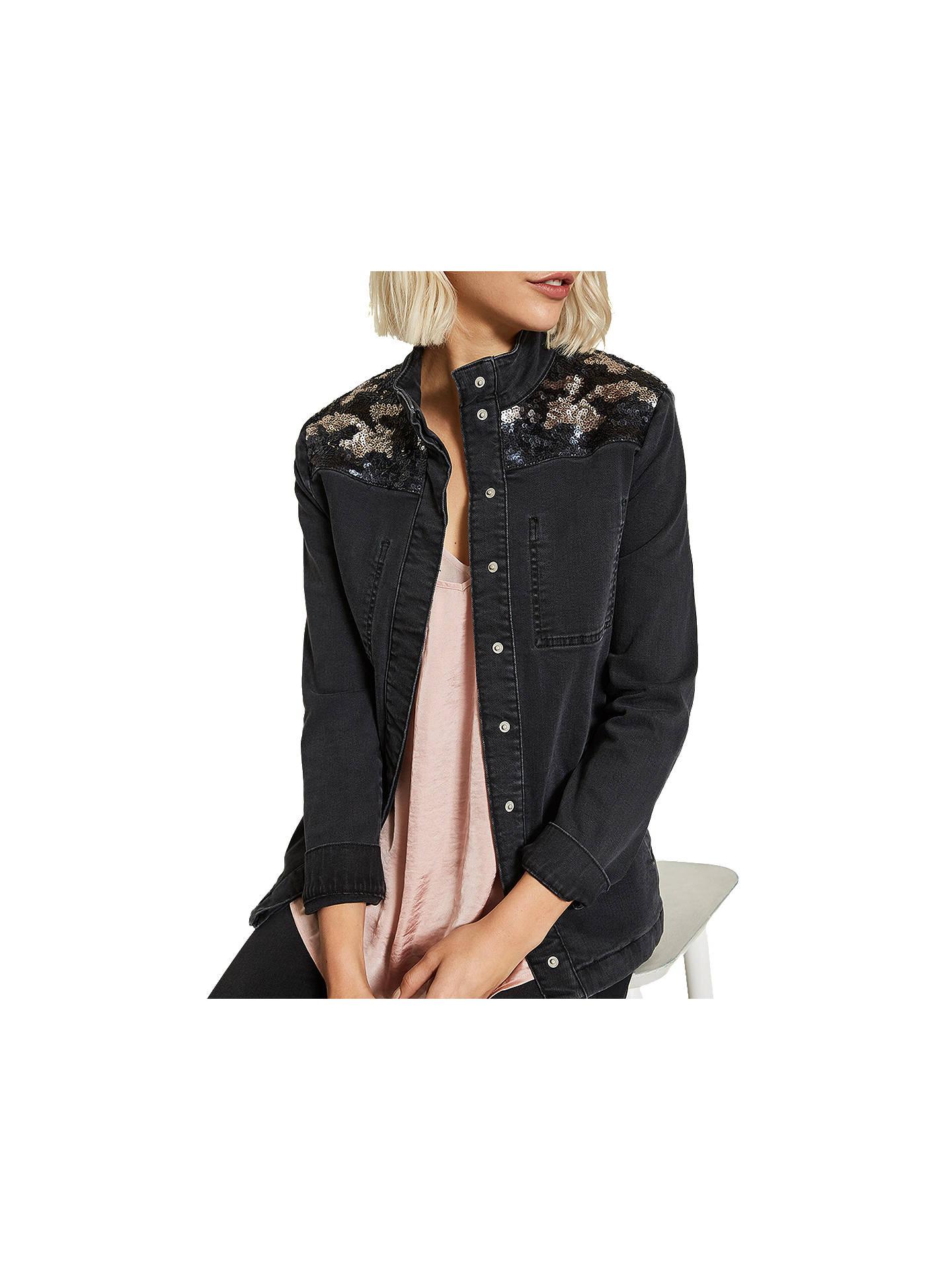 7cb921ec58a50 Buy Mint Velvet Sequined Jacket, Black, 10 Online at johnlewis.com ...