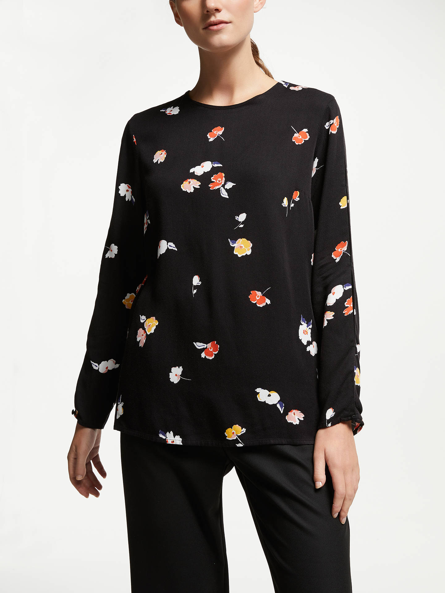 Buy ARMEDANGELS Agna Fall Flowers Blouse, Black, XS Online at johnlewis.com