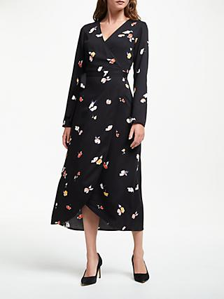 ARMEDANGELS Elke Fall Flower Wrap Dress, Black