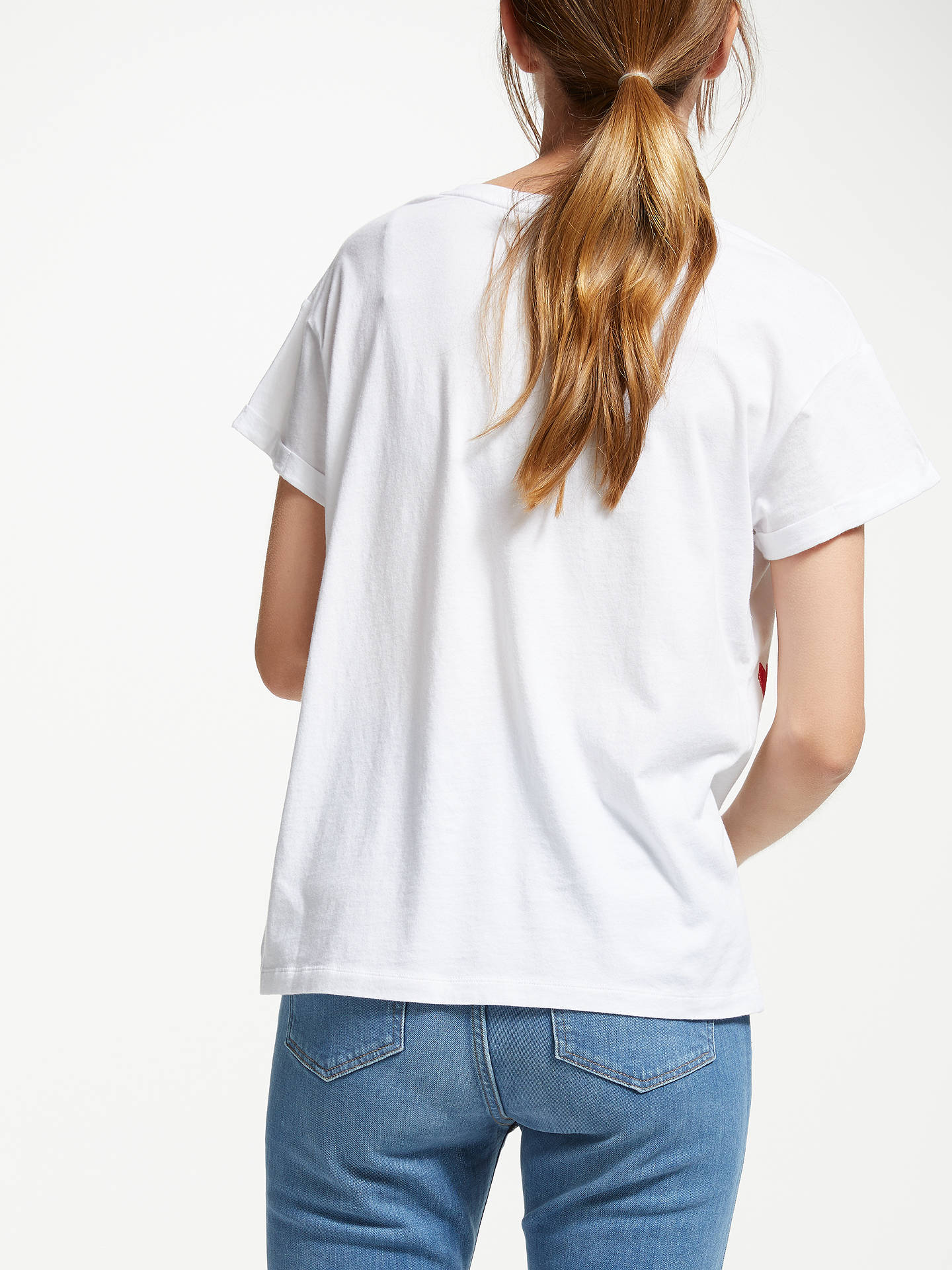 Buy ARMEDANGELS Nalin Organic Cotton Hearts T-Shirt, White, XS Online at johnlewis.com