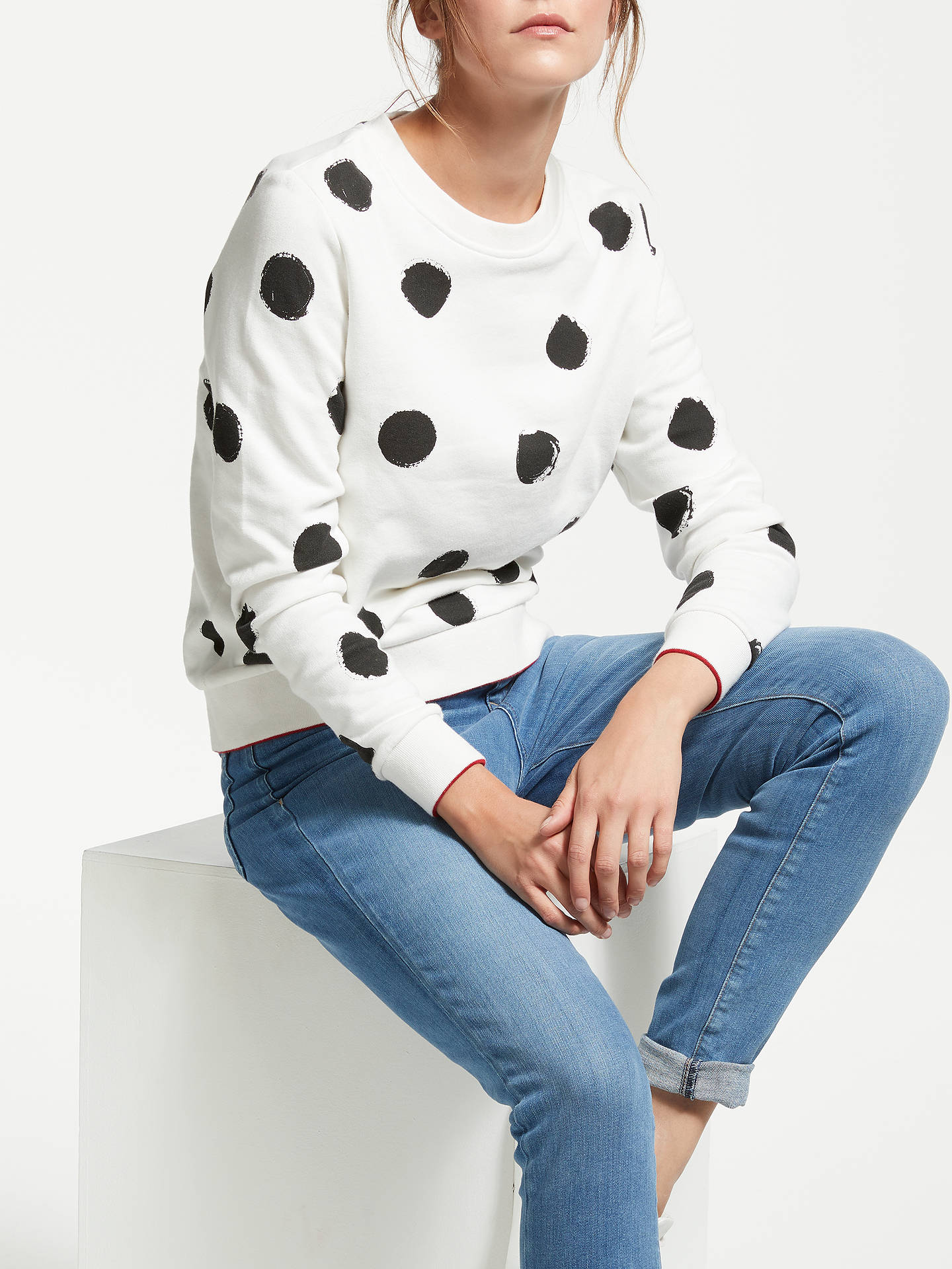 Buy ARMEDANGELS Philomena Organic Cotton Big Spot Sweatshirt, Off White, XS Online at johnlewis.com