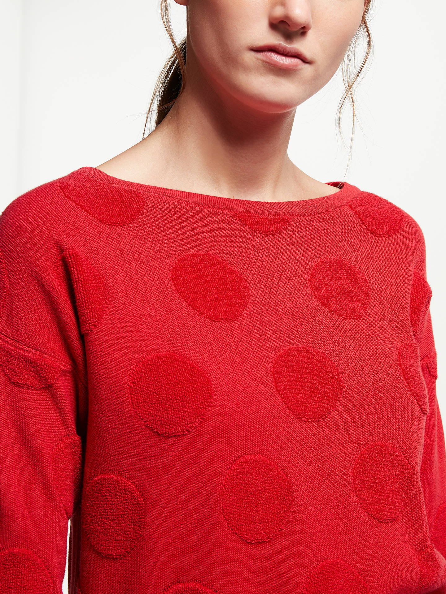 Buy ARMEDANGELS Noelia Fluffy Dots Jumper, Scarlett Red, XS Online at johnlewis.com