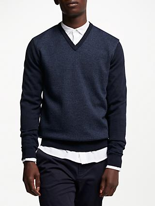 Hackett London Jacquard V-Neck Jumper, Navy/Denim
