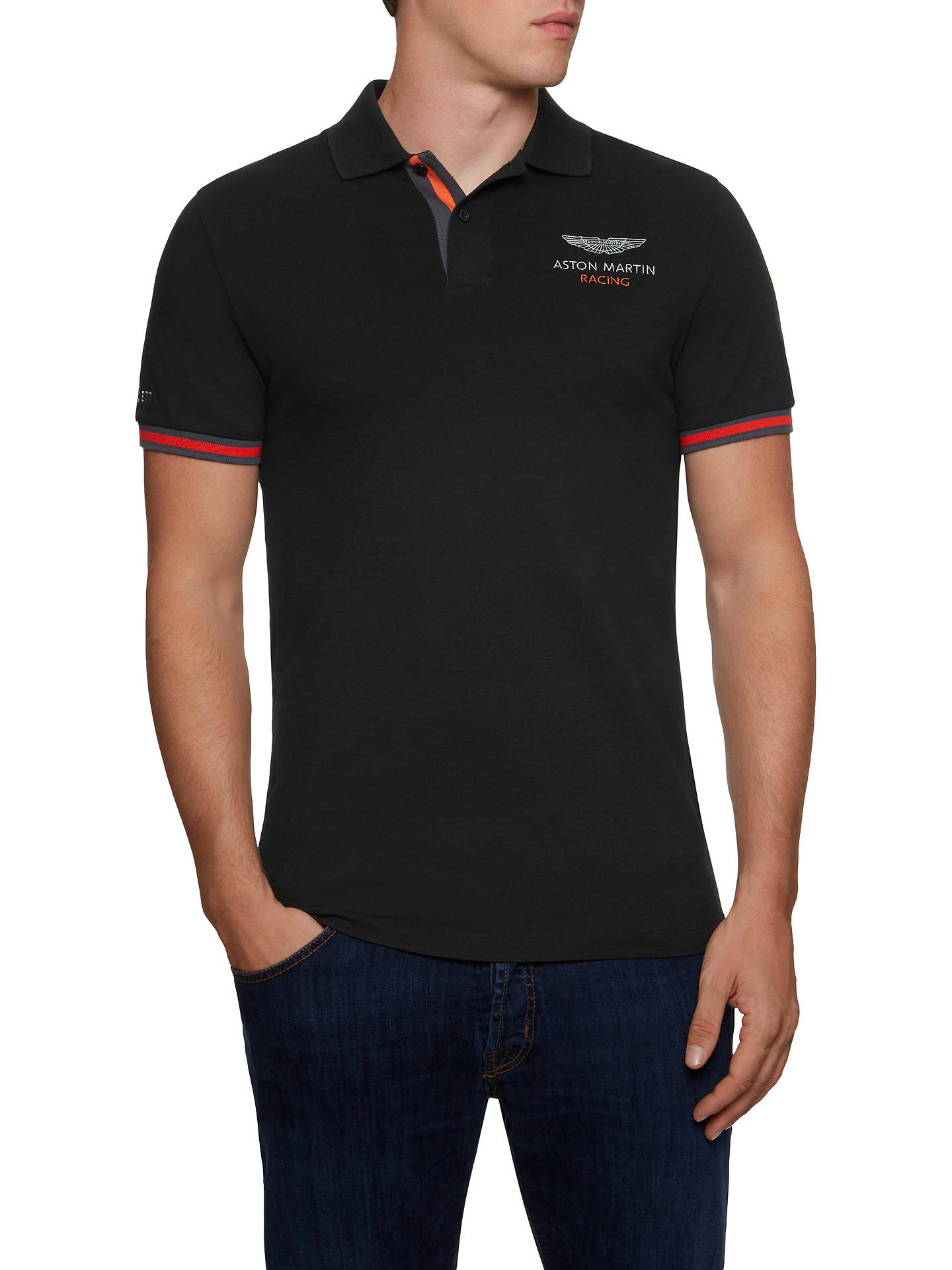 ca9fcbc696f Buy Hackett London Aston Martin Racing Polo Shirt, Black, XL Online at  johnlewis.
