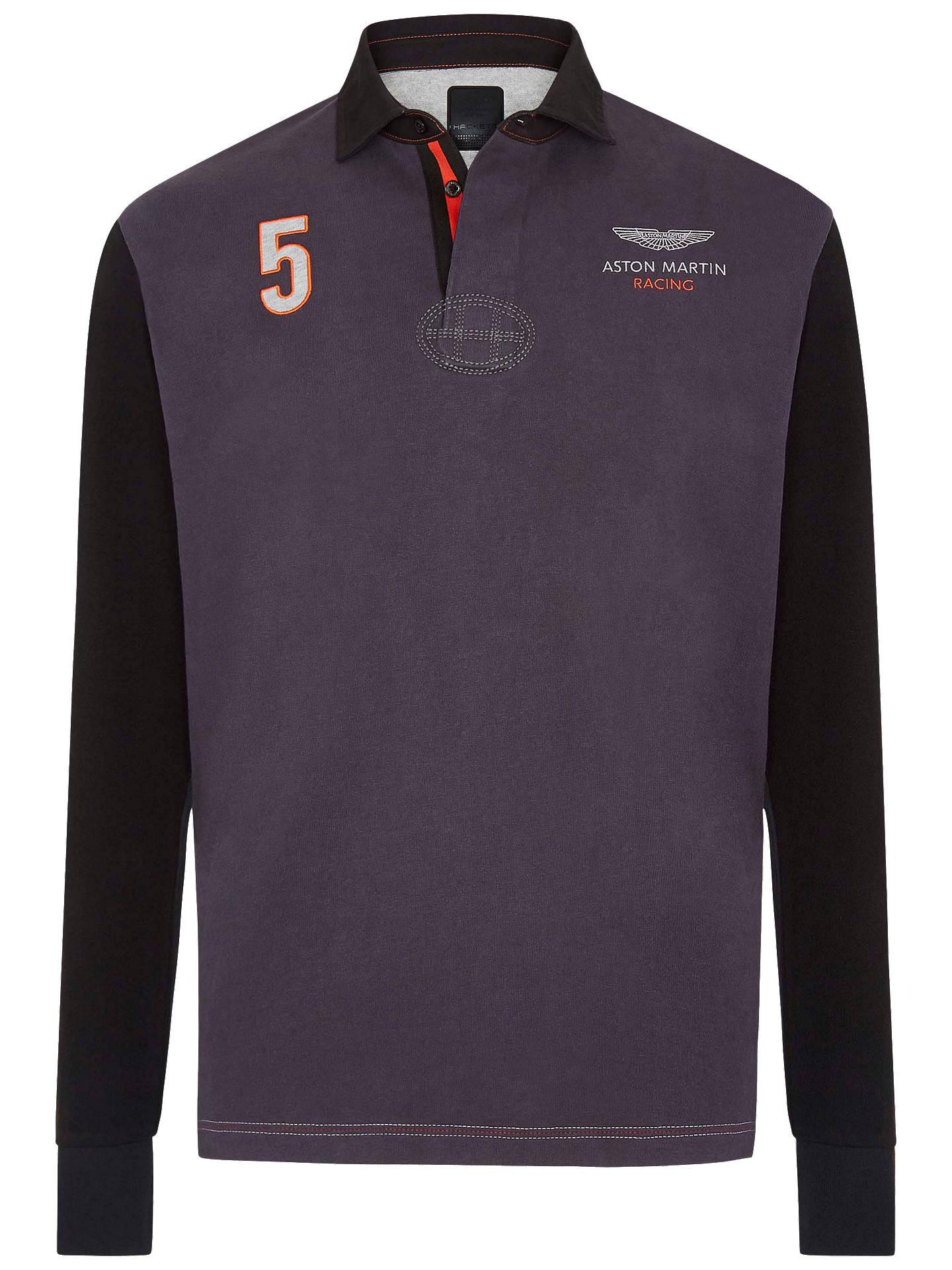 Hackett London Long Sleeve Aston Martin Rugby Shirt GreyMulti At - Aston martin clothing