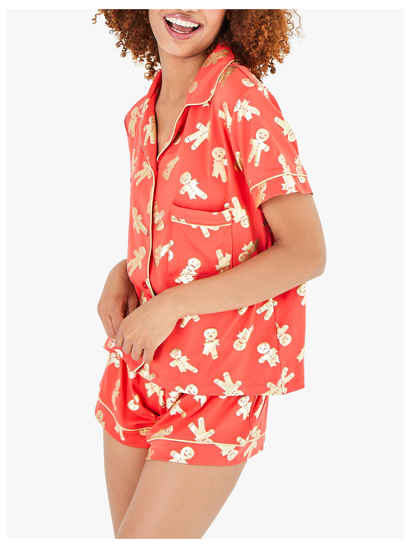 BuyChelsea Peers Gingerbread Shorts Pyjama Set, Red, S Online at johnlewis.com