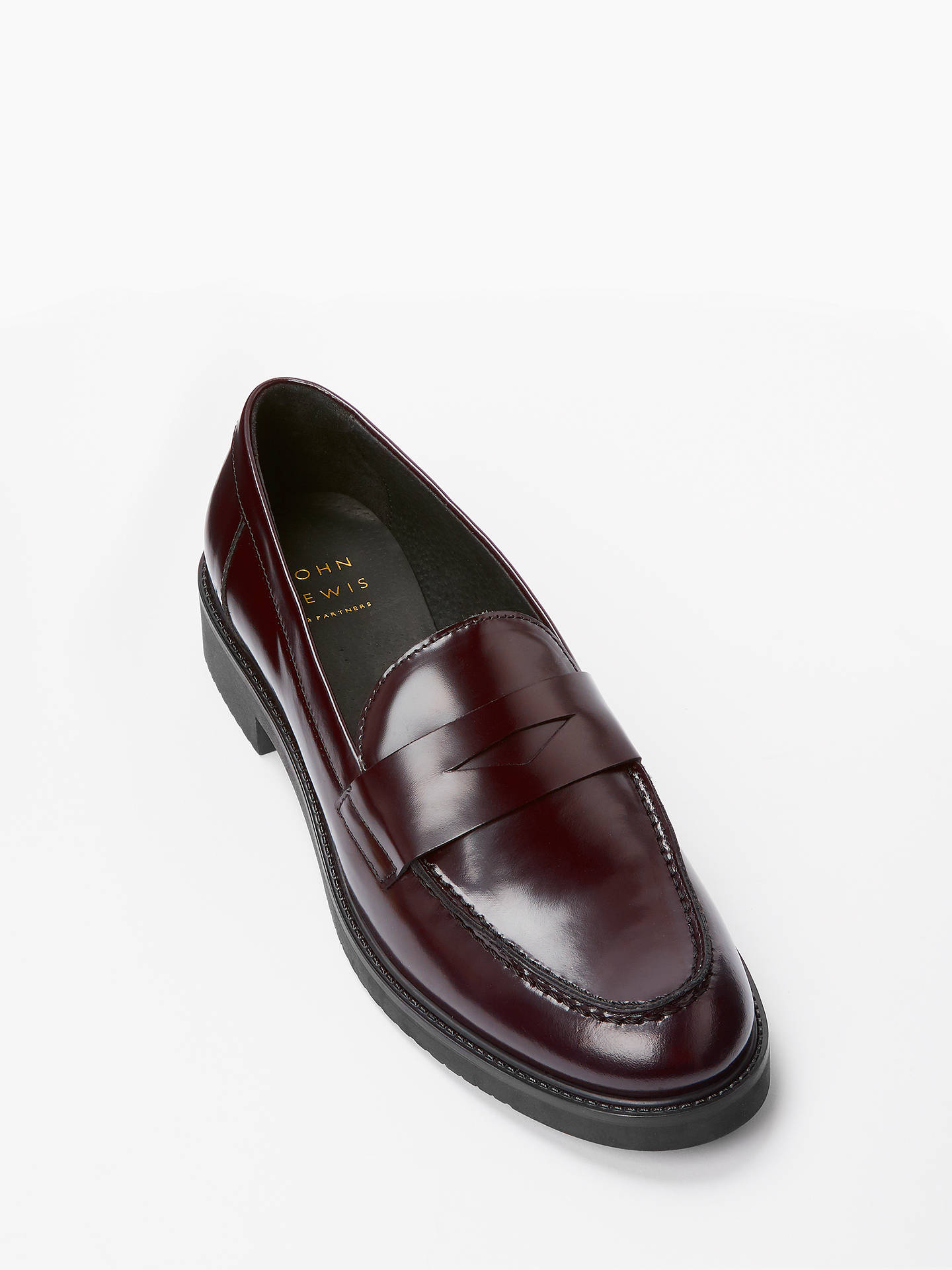 BuyJohn Lewis & Partners Georgia Leather Penny Loafers, Red Leather, 8 Online at johnlewis.com