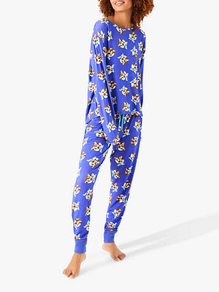 Buy Chelsea Peers Pug Pudding Long Pyjama Set, Purple, S Online at johnlewis.com