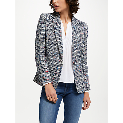 Helene For Denim Wardrobe Carine Tweed Blazer, Blue