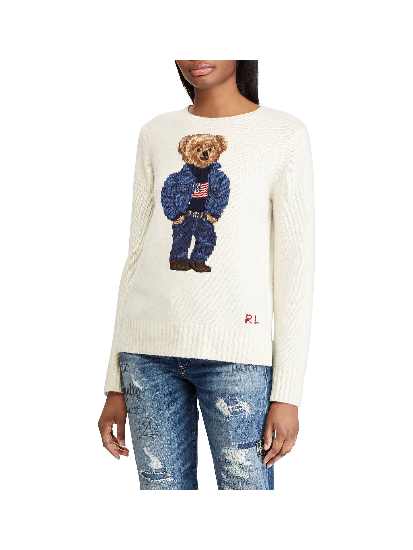 Polo Ralph Lauren Bear Jumper Cream At John Lewis Partners