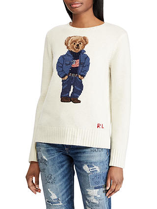 Buy Polo Ralph Lauren Bear Jumper, Cream, XS Online at johnlewis.com